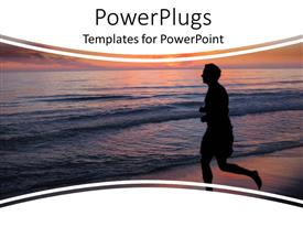 PowerPlugs: PowerPoint template with silhouette of man running to the sea water at sunset