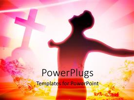PowerPlugs: PowerPoint template with silhouette of a man standing in front of a cross and shinning light