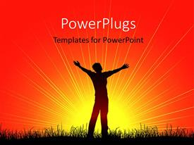 PowerPlugs: PowerPoint template with a silhouette of  man standing under the sun ray