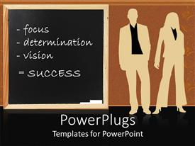 PowerPlugs: PowerPoint template with silhouette of man and woman beside chalkboard with success recipes written