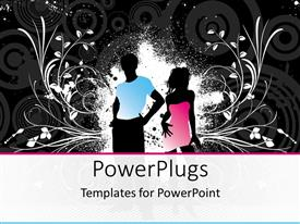 PowerPoint template displaying silhouette of man and woman in blue and pink cloths