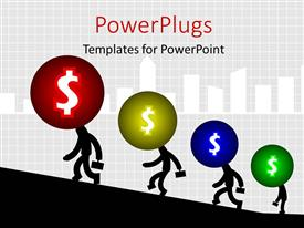 PowerPoint template displaying silhouette of men with dollar heads walking uphill