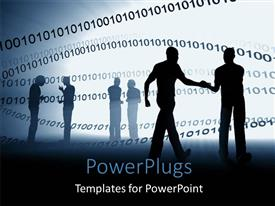 PowerPlugs: PowerPoint template with a silhouette of too men having a conversation with lots of binary behind them