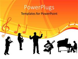 PowerPlugs: PowerPoint template with silhouette of orchestra with conductor and music notes with symbols
