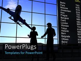 PowerPlugs: PowerPoint template with silhouette of people with airplane in sky and departure information