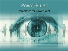 PowerPlugs: PowerPoint template with silhouette of people in background with close up of human eye