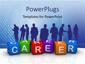 PowerPlugs: PowerPoint template with silhouette of people with colored tiles forming word CAREER