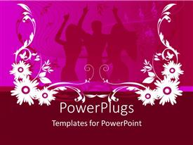 PowerPlugs: PowerPoint template with silhouette of people dancing in background with white and pink floral design