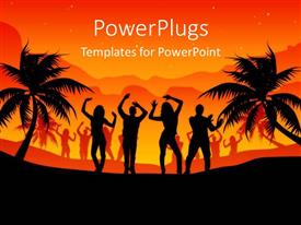 PowerPlugs: PowerPoint template with silhouette of people dancing on beach with palm trees
