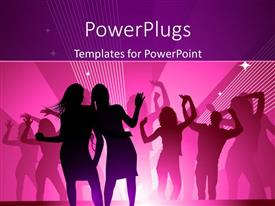 PowerPlugs: PowerPoint template with silhouette of people dancing in club with strobe lights