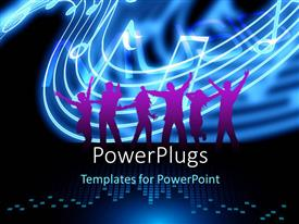 PowerPlugs: PowerPoint template with silhouette of people dancing on equalizer bars with music notes in background