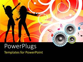 PowerPlugs: PowerPoint template with silhouette of people dancing with music symbols and speakers on florafloral design