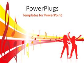 PowerPlugs: PowerPoint template with silhouette of people dancing with musical notes and symbols