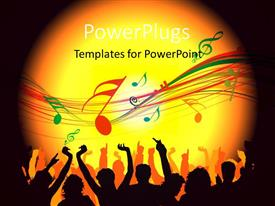 PowerPlugs: PowerPoint template with silhouette of people dancing , with musical signs