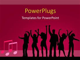PowerPlugs: PowerPoint template with silhouette of people dancing on pink background with music symbol