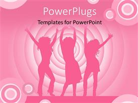 PowerPlugs: PowerPoint template with silhouette of people dancing on stage with colorful circles in background