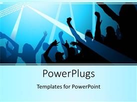 PowerPlugs: PowerPoint template with silhouette of people dancing with stage lights shining over them