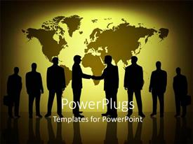 PowerPlugs: PowerPoint template with silhouette of people with handshake over glowing world map