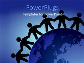 PowerPoint template displaying silhouette of people holding hands round the earth globe
