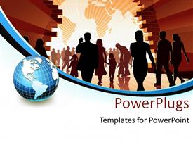 PowerPlugs: PowerPoint template with silhouette of people holding hands with world map in background and earth globe