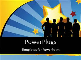 PowerPlugs: PowerPoint template with silhouette of people with large yellow star in background