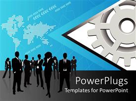PowerPoint template displaying silhouette ofpeople posing before world map with dots and arrows