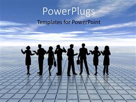 PowerPlugs: PowerPoint template with silhouette of people standing on gridlines with blue cloudysky