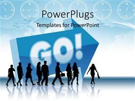 PowerPlugs: PowerPoint template with silhouette of people walking in a direction with large 3D sign GO