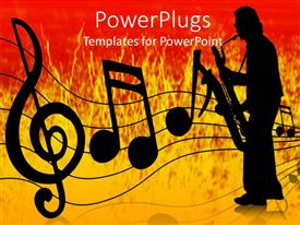 PowerPlugs: PowerPoint template with silhouette playing saxophone with black music notes on orange and red surface