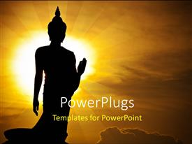 PowerPoint template displaying silhouette of s Buddha statue in Thailand