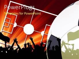 PowerPlugs: PowerPoint template with silhouette of soccer fans with flags with soccer pitch