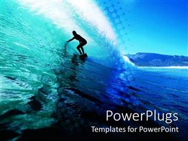 PowerPoint template displaying silhouette of surfer in the water wave surfing on the ocean waves
