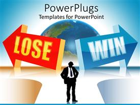 PowerPlugs: PowerPoint template with silhouette of thinking business man standing in the middle of two arrows red arrow with lose word and blue arrow with win word with globe in the background