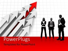 PowerPlugs: PowerPoint template with a silhouette of three business people standing beside some white and red arrows