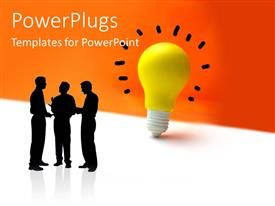 PowerPlugs: PowerPoint template with silhouette of three men discussing with yellow light bulb depicting ideas