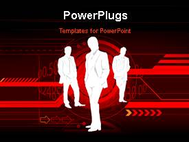 PowerPoint template displaying a silhouette of three people standing on a red colored background