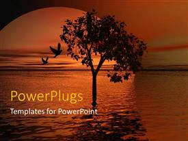 PowerPlugs: PowerPoint template with silhouette of tree with two birds in water at sunset, nature
