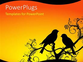 PowerPoint template displaying silhouette of two birds sitting on ornate branch with orange sunrise background