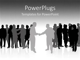 PowerPlugs: PowerPoint template with silhouette of two groups with group leaders shaking hands