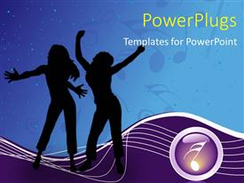 PowerPoint template displaying a silhouette of two ladies dancing happily with a musical note