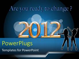 PowerPlugs: PowerPoint template with silhouette of two young ladies celebrating new year