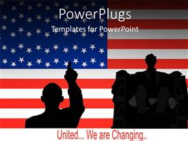 PowerPlugs: PowerPoint template with silhouette of United States president delivering speech over American flag
