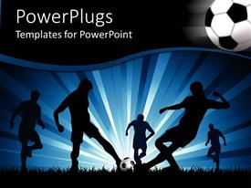 PowerPlugs: PowerPoint template with silhouette view of five men playing foot ball on a colorful background