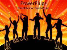 PowerPlugs: PowerPoint template with a silhouette view of six men and women dancing over an orange background