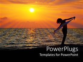 PowerPoint template displaying silhouette of woman dancing on beach at sunset under clear sky