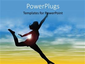 PowerPlugs: PowerPoint template with silhouette Of Woman Jumping and doing exercise depicting health and fitness with nature