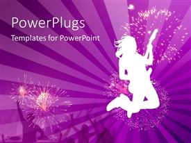 PowerPoint template displaying silhouette of woman jumping while playing guitar, fireworks, concert, purple background