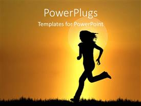 PowerPoint template displaying silhouette of woman running on grass at sunset, exercise, fitness