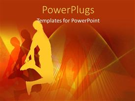 PowerPoint template displaying silhouette of young boy jumping with shadow over grunge background