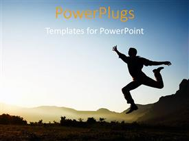 PowerPlugs: PowerPoint template with silhouette of a young male jumping over sunset with nature